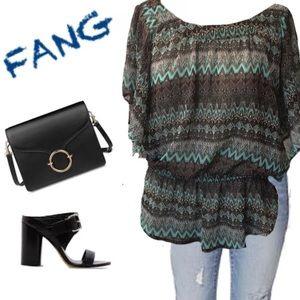 Sheer Tunic in Beautiful Turquoise & Brown by FANG